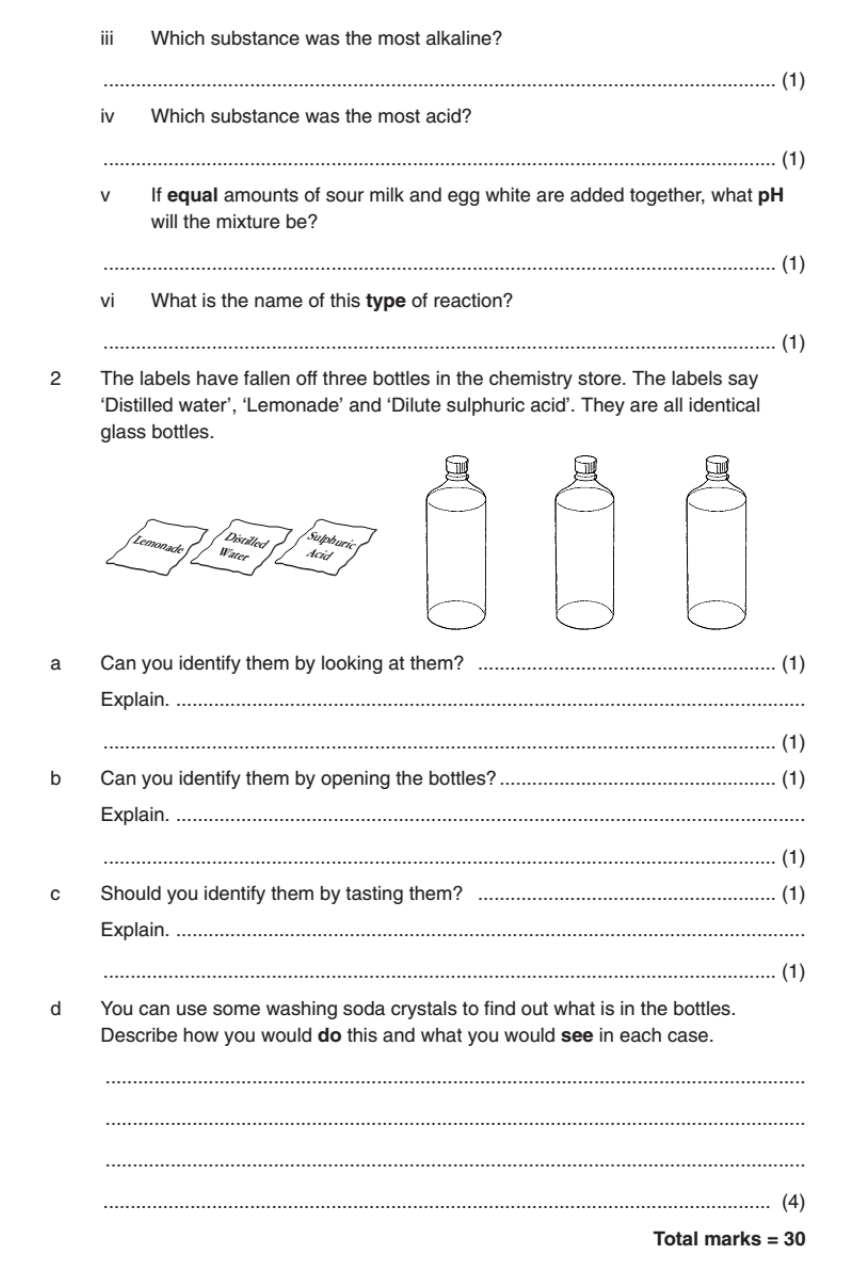 Acids and Alkali worksheet